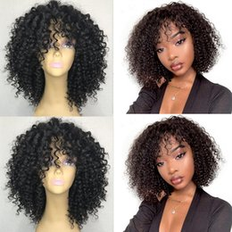 blonde bob wigs bangs Australia - Fast shipping short kinky Curly 360 Lace Front Wigs With Bangs 250 Density synthetic Lace Frontal Bob Wig Pre Plucked