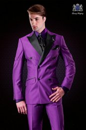 images fashionable suits Australia - New Fashionable Double Breasted Purple Wedding Groom Tuxedos Peak Lapel Groomsmen Men Suits Prom Blazer (Jacket+Pants+Tie) 048