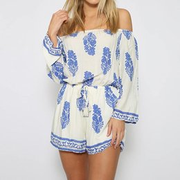 784501b32fe ZANZEA 2019 Women Floral Print Jumpsuits Playsuits Rompers Sexy Off  Shoulder Long Sleeve Ladies Casual Loose Shorts Plus Size