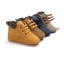 $enCountryForm.capitalKeyWord Australia - Newborn Baby Shoes Unisex Kids Infant Toddler First Walkers Lace-Up Classic Fashion Anti-Slip Moccasins High Top Shoe Boots Shoe