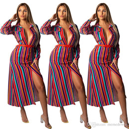$enCountryForm.capitalKeyWord NZ - Colorful Striped Casual T Shirt Dress Women Turn Down Collar Long Sleeve Loose Vestidos Autumn Pockets Buttons Maxi Dress NZK-1670