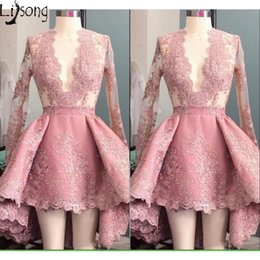 $enCountryForm.capitalKeyWord Australia - Hot Dusty Pink Prom Dress Mini Hi-low v neck Full Sleeves Womens Special Occasion Party Dress Short Gowns Custom Made Lace evening Dress