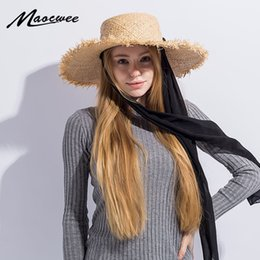 $enCountryForm.capitalKeyWord Australia - Handmade Weave Raffia Sun Hats For Women Black Ribbon Lace Up Large Brim Straw Hat Outdoor Beach Summer Caps Chapeu Feminino Y19070503