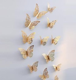$enCountryForm.capitalKeyWord Australia - 12 Pcs 3D Wallpaper Hollow Wall Stickers Butterfly Fridge For Home Decoration New Wall Stickers High Quality Home Decorations