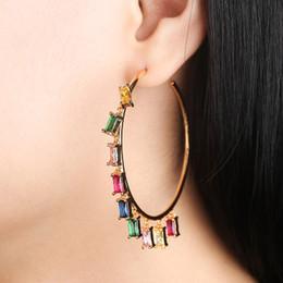 $enCountryForm.capitalKeyWord Australia - Luxury Big Water Drop Dangle Earring female joker temperament sparkle color glass stone earring personality match color jewelry