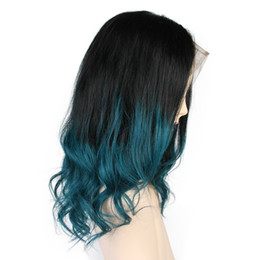 Front lace wig 1b online shopping - Ombre Lace Front Human Hair Wigs Pre Plucked Dark Roots B Green Colored Brazilian Remy Hair Short Human Hair Wigs