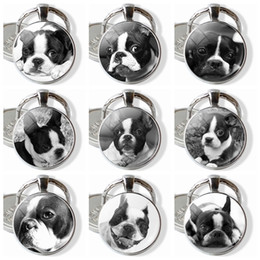 Dog Glasses Cartoon Australia - Boston Terrier Keychain Vintage Style Puppy Photo Pendant Black and White Lovedy Dog Glass Keyring Jewelry