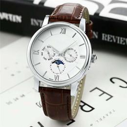 Famoso designer de Moda Venda Quente Homem marcas Assista Casual pulseira de couro Novo Vestido de Luxo Relógio De Quartzo Cronômetro Relojes De Marca relógio de Pulso