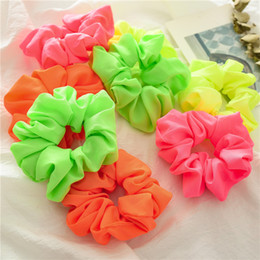 neon hair headbands Australia - 2019 Women Neon Scrunchies Elastic Hair Ties Girl Solid Color Ponytail Holders Fluorescent Color Bright Women Hair Accessories