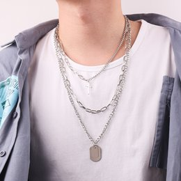 multi layer necklace european fashion 2019 - European and American style multi-layer cross square brand necklace men and women fashion pendant necklace discount mult