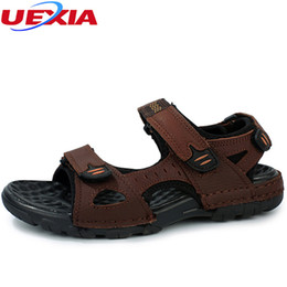 Discount slippers flat feet - UEXIA Cow Split Leather Men Sandals Summer Flats Shoes Breathable Feet Lazy Casual Sandals Slippers Outdoor Walking Beac