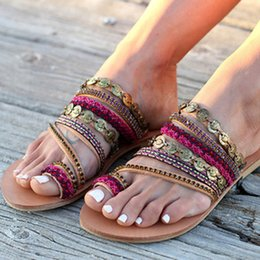 $enCountryForm.capitalKeyWord NZ - Nan Jiu Mountain 2019 Summer Sandals Women Flat Sandals Celebrity Bohemian Handmade Beaded Rhinestones Women's Shoes Plus Size Y19070103