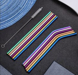 $enCountryForm.capitalKeyWord Australia - 50sets 6Stainless Steel Drinking Straws+2 brush+1 bag Drink Tools Reusable Eco-Friendly Colorful Straw For Home Bar Accessories