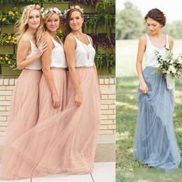 Brown Long Tutu Australia - 2019 Cheap Summer Country Style Boho Bridesmaid Dresses Beach Sleeveless V-neck Blush Tutu Tulle Skirt Long Dresses Custom Made