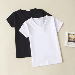 $enCountryForm.capitalKeyWord Australia - Summer Baby Clothing Girl Boy Cotton T Shirt V Neck Short Sleeve Top Tees For Kids Blank Shirt Black White 0-10 Years