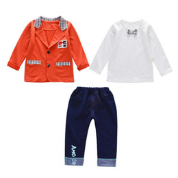 Handsome Kids Suits NZ - Baby Handsome Suit Spring Autumn Children Boys Girls Jacket T-shirt Pants 3Pcs Sets Fashion Kids Garment Toddler Tracksuits