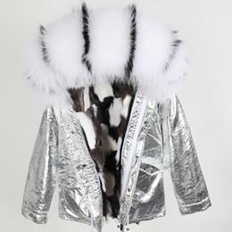 Women S Snow Parka Australia - white black raccoon fur trim Maomaokong brand women coats white black fox fur lined silver mini jackets snow parka