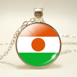 Necklaces Pendants Australia - Time Gem Glass Cabochon Niger National Flag World Cup Football Fan Clavicle Necklace Vintage Pendant Choker For Women Men Chain Jewelry Gift
