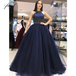 $enCountryForm.capitalKeyWord Australia - 2018 Quinceanera Dresses Ball Gown Halter Beads Tulle Sweet 16 Gowns Open Back Floor Length Prom Party Gowns