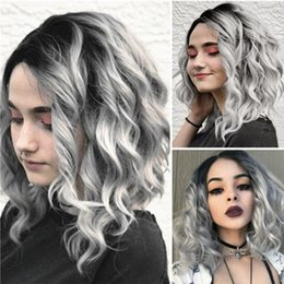 Wholesale Short Wavy Curly Hair Wigs Black Gray Bobo Human Hair Rose net Wig Glueless Front Wigs Gray Women M81114