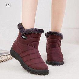 Women furry boots online shopping - LZJ Snow Boots Women Shoes Winter Flat Unisex Ankle Boots Female Slip On Furry Fur Plus Size Warm Plush Couple Style