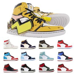 pikachu shoes NZ - 1 Mid DIY Pikachu Fragment Design OG Chicago Travis Basketball Shoes Men Women 1s Top 3 Unc Black Toe Banned Sneakers Size 36-45