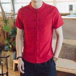 Linen Slim Shirts Australia - Cotton Linen Men Shirt 2018 Stand Collar Casual Chinese Tradition Male Shirt Slim Fit Mens Shirts short-Sleeve Camisa Hombre 5XL