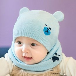 blue bear suit 2019 - 2pcs Warm Knitted Beanies Cap Kids Fashion Bear Ear Hats Set Scarf Ring Protects Ear Baby Hat And Scarf Suits Winter Acc