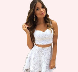 white sexy party outfit Australia - Women Sexy White Lace Dress Two-Piece Outfit Lace Crochet Crop Top A-line Mini Skirt Girls Evening Party Prom Dresses ZSJF0452