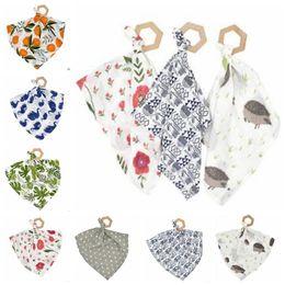 NewborN baby jewelry online shopping - INS Baby Bibs Saliva Towel Newborn Burp Cloths Animals Flower Print Bandana Feeding Scarf Infant Chewable Jewelry Lovey Teether Toys A5043