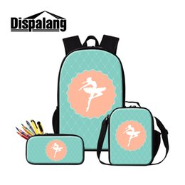 unique backpacks NZ - Unique Gift Back to School Backpack Ballet Girls Design School Book Bag for Children Cute Messenger Cooler Bag Bulk Pencil Case