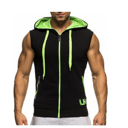 $enCountryForm.capitalKeyWord Australia - 2018 Singlets Mens fitness crossfit Tank Tops Muscle brother Male Vest Oblique zipper Men's Sleeveless Hooded bodybuilding Gyms Y19042204