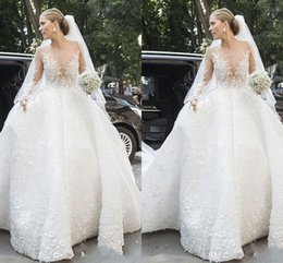 $enCountryForm.capitalKeyWord Australia - 2019 Vintage lace long sleeves ball gown wedding dresses sheer neck illusion 3D appliques church formal bridal wedding gowns