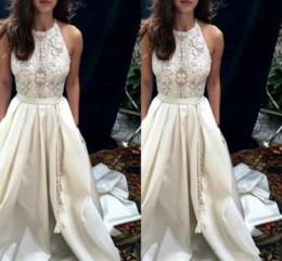 Robe Mariee Vintage Australia - Vintage Halter Neck Wedding Dresses Appliques Formal Sleeveless High Quality Sheath Real Pictures Elegant Bridal Wedding Gown robe de mariee
