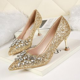 1106e2ee20f gold glitter kitten heel shoes 2019 - glitter sequined crystal shoes silver  wedding shoes bridal pointed