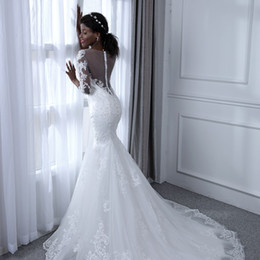 cheap t back wedding dresses 2019 - Romantic mermaid wedding dresses with sleeves african american Sheer Neck Sweep Train Lace Country Bridal Gowns Button B