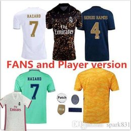 Real madRid fans online shopping - Player version and Fans Real Madrid HAZARD Soccer Jerseys home away MODRIC KROOS ISCO ASENSIO JOVIC man and woman football shirt