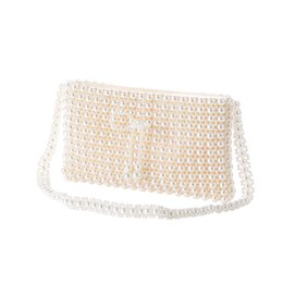 $enCountryForm.capitalKeyWord UK - The Hand made Luxury Pearl Clutch bags Women Purse Diamond Chain white Evening Bags for Party Wedding black Bolsa Feminina