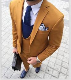 $enCountryForm.capitalKeyWord Australia - Latest Coat Pant Designs Yellow Brown Double Breasted Men Suit Terno Slim Fit Skinny 3 Piece Tuxedo Custom Blazer Masculino CY016