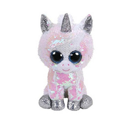 4296c376d6e New 15CM Ty Beanie Boos Big Eyes white sequin Dangler Sloth Unicorn Seal  Dog Cat Plush Toy Doll Stuffed Animal Plush Kid Toy