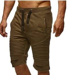 $enCountryForm.capitalKeyWord Australia - Summer Men Shorts Draped Trousers Folds Hole Elastic Fashion Shorts Rope Belt Mens Pants Knee Length Clothes M-3XL Wholesale