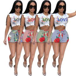 $enCountryForm.capitalKeyWord Australia - Women Summer 2 piece Clothing Set Love Letter Floral Print Crop Top T-shirt + Striped shorts Outfit Designer Tracksuit Streetwear 2xl C62506
