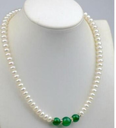 pendants abacus Australia - Free shipping 8-9mm Natural Abacus white Akoya Pearl   Green Jade (10-12mm) Beads Necklace