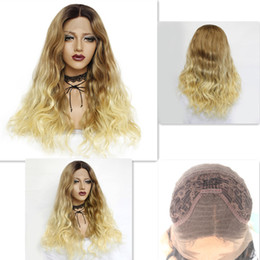 $enCountryForm.capitalKeyWord NZ - Fashion Blonde Ombre Loose Wave Hair Wig for Women Long Synthetic Hair Blonde Lace Front Wigs