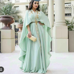 white caftan dress Canada - 2020 Mint Green Caftan Evening Dresses Long Sleeve Gold Appliques Embroidery Zipper Kaftan Prom Gowns Arabic Abaya Plus Size Reception Dress