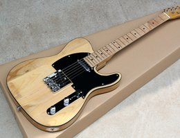 Elm For Body Electric Guitar Australia - Free Shipping Natural Wood Color Electric Guitar with Black Pickguard,Elm Body,Black Binding,Chrome Hardwares,offering customized services