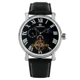 Unique Watches For Men Australia - Business Automatic Mechanical Watches for Male Classic Skeleton Black Leather Band Watch for Men Unique Roman Numerals Dial Wristwatch