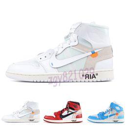 Vente en gros OFF WHITE X Nike Air Jordan 1 Hommes 1 Basketball Chaussures Sneakers Off UNC Chicago Sky High Bleu 2020 Nouvelle Jumpman Femmes X Og Sport Zapatos Baskets Designer Chaussures