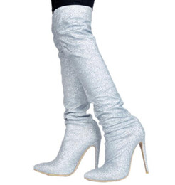 c5d2a90bdd Hot Selling Winter Brand Woman Sliver Sequined Cloth Bling Bling Crystal  Diamond Pointed Toe Over The Knee Thigh Long Boots Lady