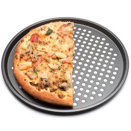 $enCountryForm.capitalKeyWord Australia - Carbon Steel Nonstick Pizza Baking Pan Tray 32cm Pizza Plate Dishes Holder Bakeware Home Kitchen Baking Tools Accessories Black HK0179